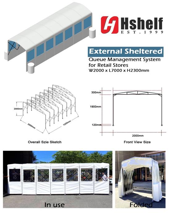 Hshelf External Shelter Channel Tent Queuing System