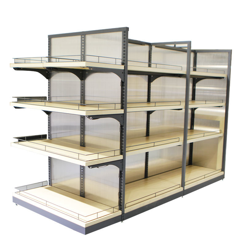 Convenient store shelving with wood shelf