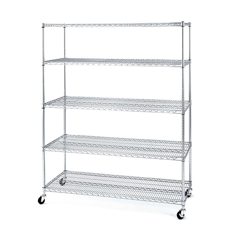 Heavy duty mobile steel wire shelving with wheels