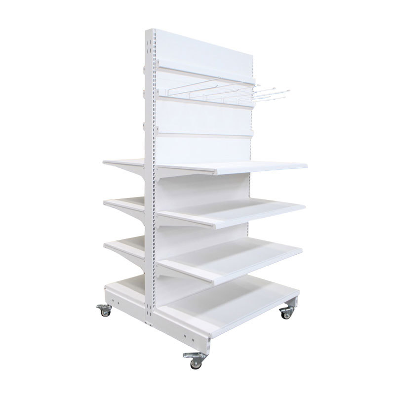 Custom Shelves Mobile gondola shelving with wheels