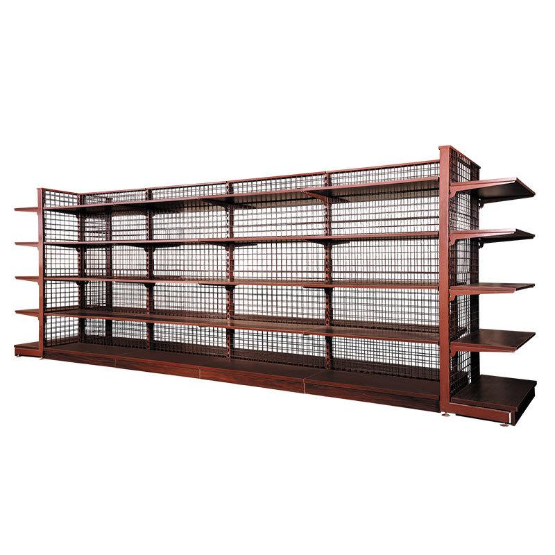Wire mesh back supermarket shelves