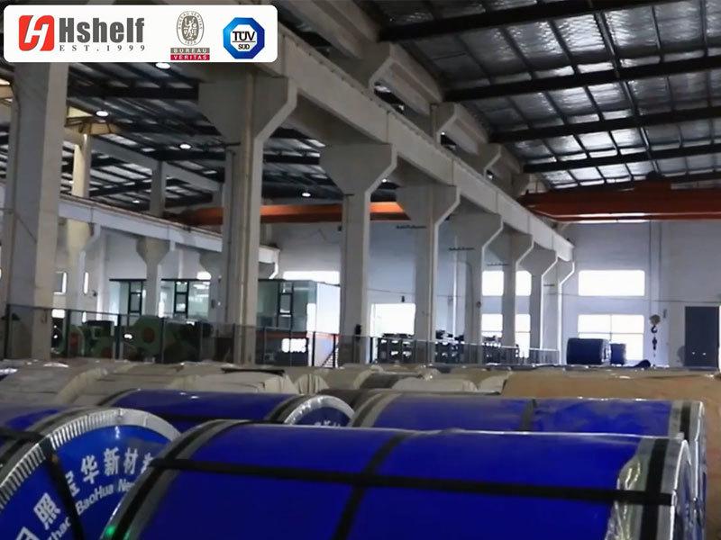 Raw material stocks at shop shelf factory