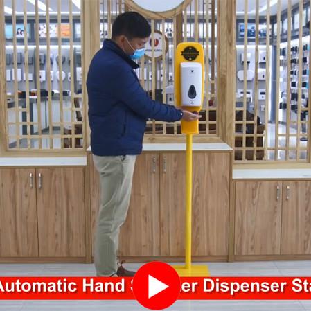 Floor Standing Hand Sanitizer Dispenser Showing Video