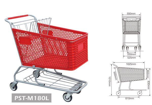 Plastic Shopping Trolley Unfold Supermarket DurableTrolley with High Capacity 200L 180L 165L