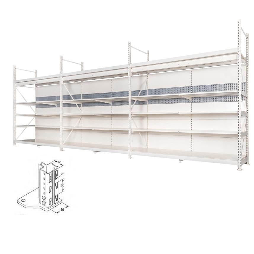 Integrated supermarket shelving