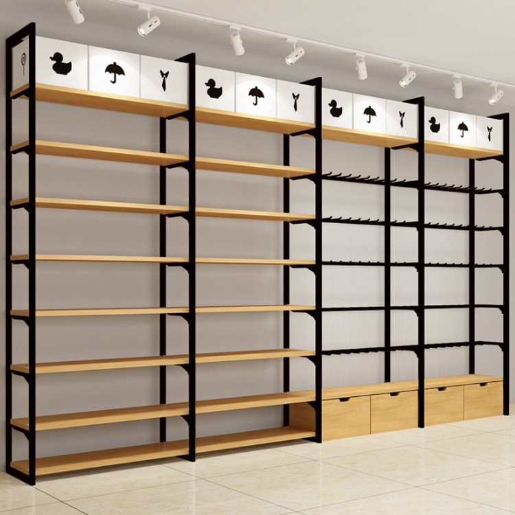Wooden Retail Store Display Shelving System