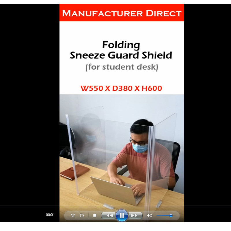 Folding sneeze guard shield for student desk