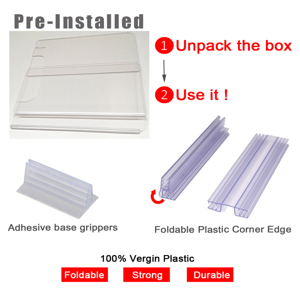 plastic corner edge & adhesive grippers for student desk shield sneeze guard
